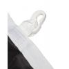 ringsum mit Doppelnaht gesäumt; an langer Seite mit Besatzband verstärkt inkl. Schlaufen und Karabinerhaken