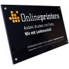 Hochwertig anmutende 4 mm farblose Plexiglasschilder für den Innen- u. Außeneinsatz (Abb. ähnlich).