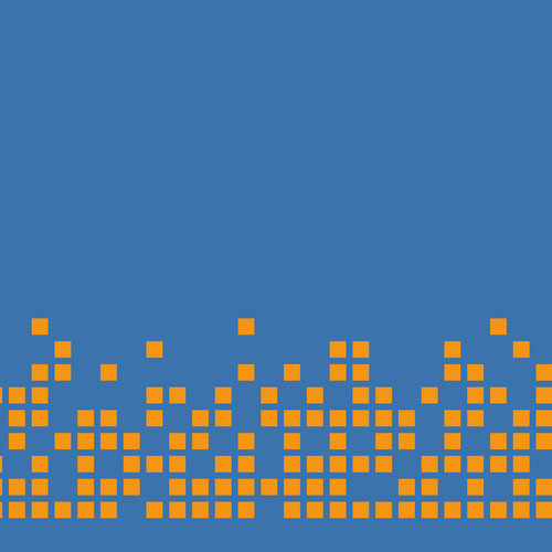 Pixel Orange auf Blau