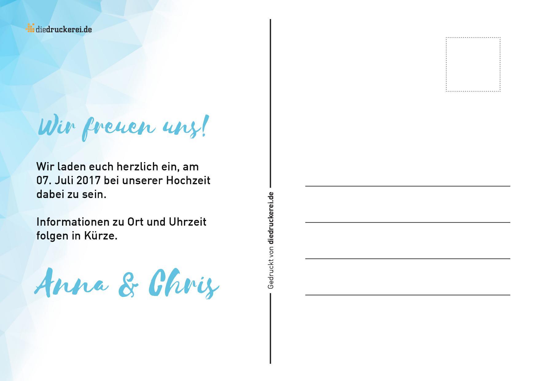 Atemberaubend Postkarte Beispielvorlage Ideen - Beispiel Anschreiben ...