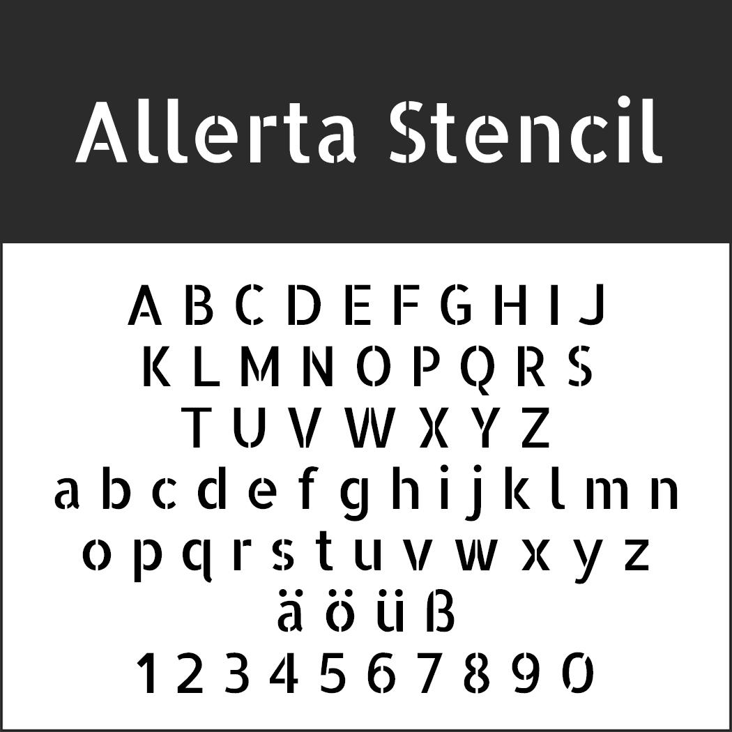 Serifenlose Schrift Allerta Stencil