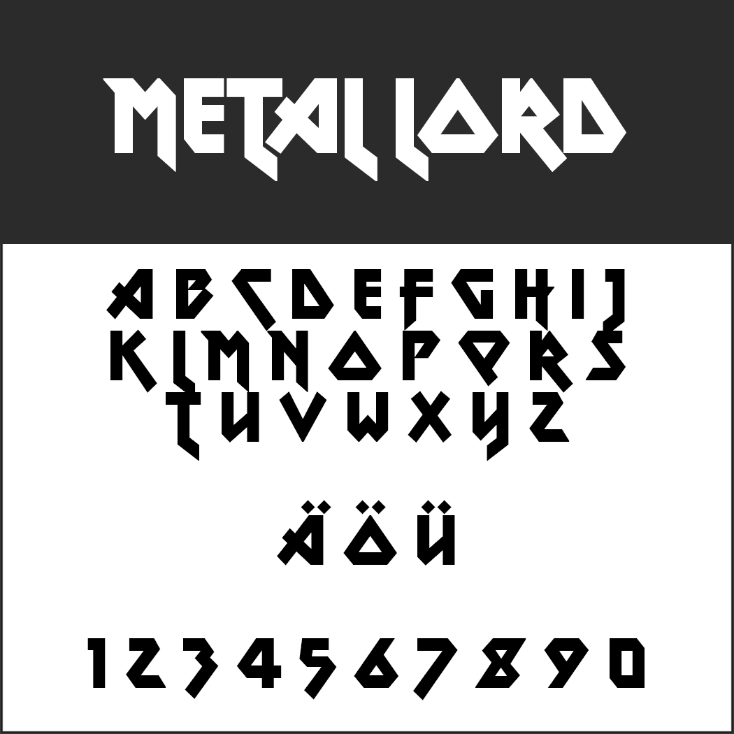 "Iron-Maiden-Schrift ""Metal Lord"" by Ray Larabie"