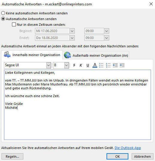 Outlook-Fenster zur Bearbeitung der automatischen Antwort